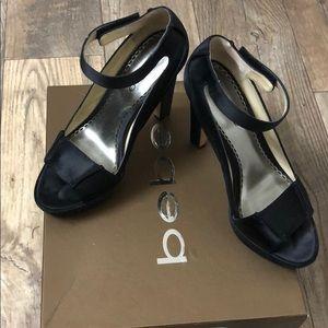 Bebe sexy black satin platform heels